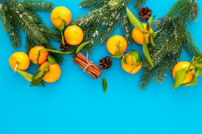 Winter fruits for New Year and Christmas. Tangerines, fir tree and cinnamon on blue background top view mock-up