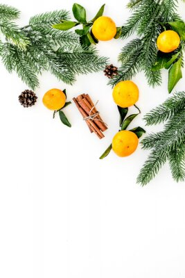 Winter fruits for New Year and Christmas. Tangerines, fir tree and cinnamon on white background top view mock-up