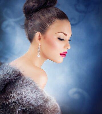 Canvas print Winter Girl in Luxury Fur Coat. Fashion Fur. Jewelry