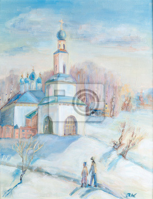 Canvas print Winter landscape with a temple