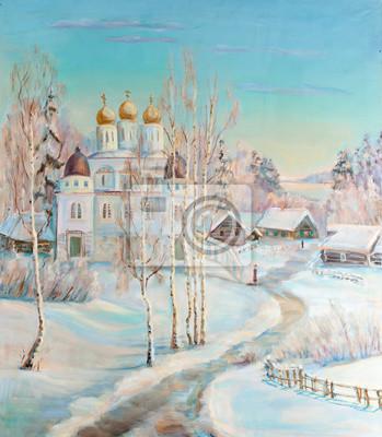 Canvas print Winter landscape with a temple
