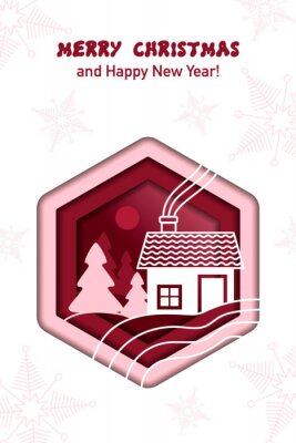 Winter landscape with house and fir trees. Paper cut. Christmas and New year greeting card. Vector