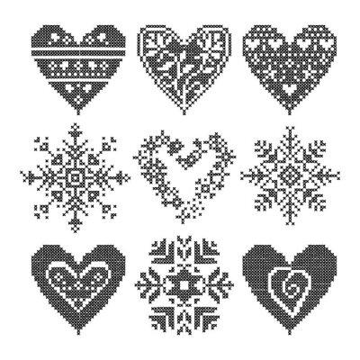 Canvas print winter love seamless black heart set