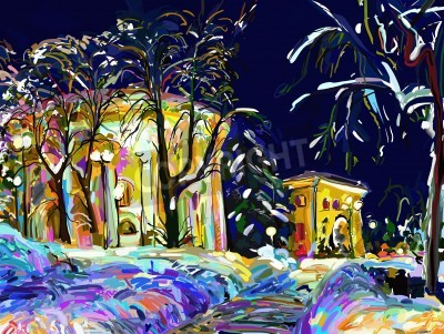 Canvas print winter night cityscape digital painting