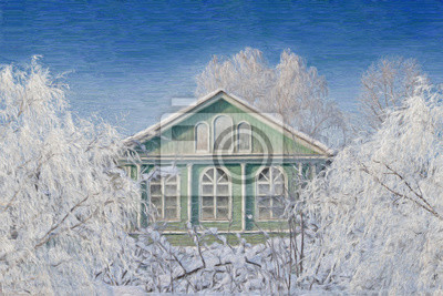 winter rural landscape, oil painting illustration