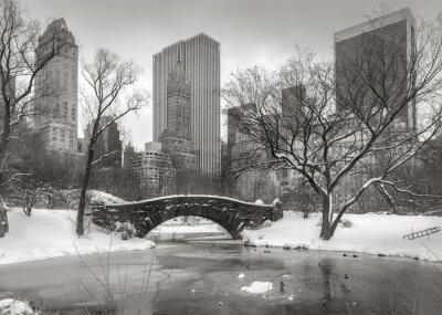 Canvas print Winter scene in Manhattan: the Pond, Gapstow Bridge and Manhatta
