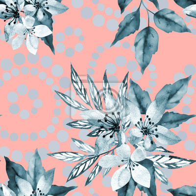 Winter seamless pattern with abstract leaves and flowers watercolor. Art illustration in hand painting style on pink background