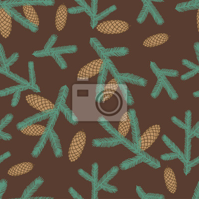 Winter seamless pattern with stylized fir branches.