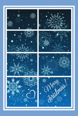 Winter window flying snowflakes and the words merry Christmas! on a blue background. Vector