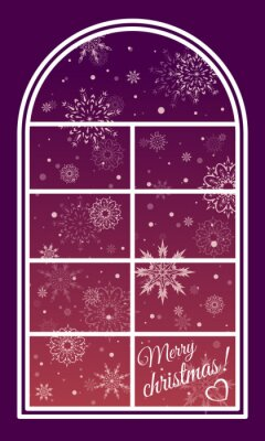 Winter window flying snowflakes and the words merry Christmas! On Burgundy background. Vector