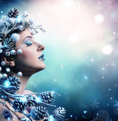 Canvas print Winter Woman Portrait - Beauty Fashion Model Girl With Snowy Decoration