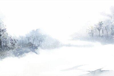 Canvas print Winter wonderland landscape painted by watercolor vector