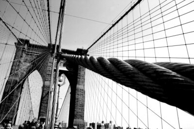 Canvas print Wires on the Brooklyn Bridge
