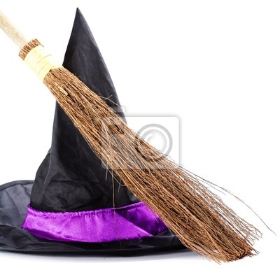 Canvas print Witch broomstick and hat
