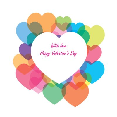 With love and Happy Valentine's Day with colorful hearts