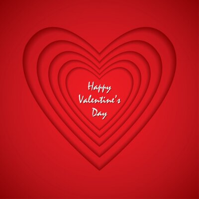 With love and Happy Valentine's Day with red hearts