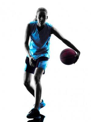 Canvas print woman basketball player silhouette