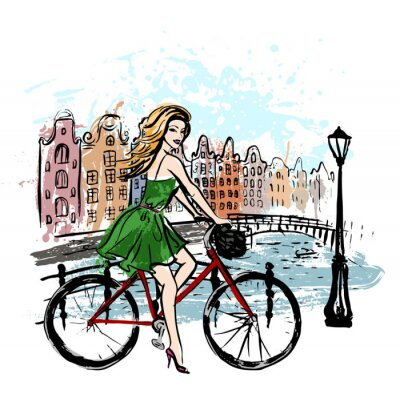 Canvas print woman driving bicycle