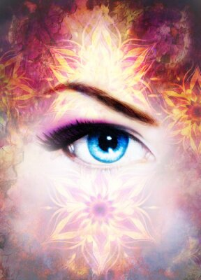 Canvas print Woman eye and mandala, Abstract color background and desert crackle.