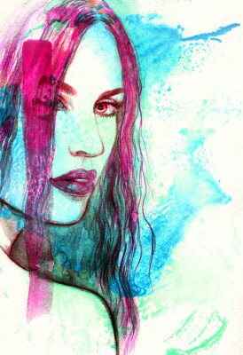 Canvas print Woman face. Abstract watercolor illustration