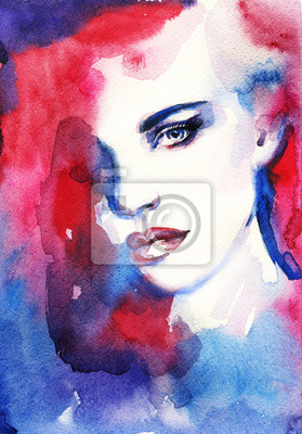 Canvas print Woman face. Hand painted fashion illustration