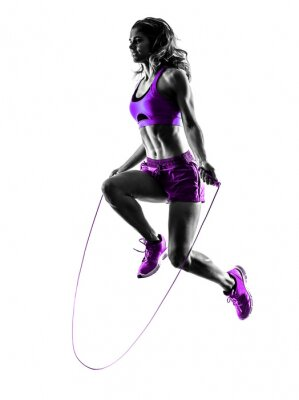 Canvas print woman fitness Jumping Rope exercises silhouette