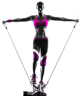 Canvas print woman fitness stepper resistance bands exercises
