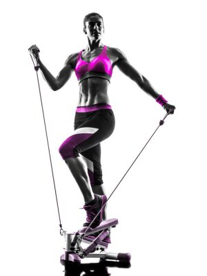 Canvas print woman fitness stepper silhouette