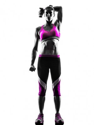 Canvas print woman fitness Weights exercises silhouette
