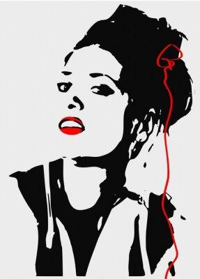 Canvas print woman gray and blask,