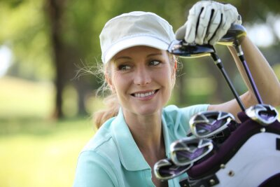 Canvas print Woman on golf course