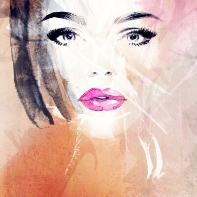 Canvas print woman portrait .abstract watercolor