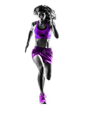 Canvas print woman runner running jogger jogging silhouette