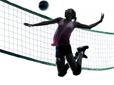 Canvas print woman volleyball players isolated silhouette