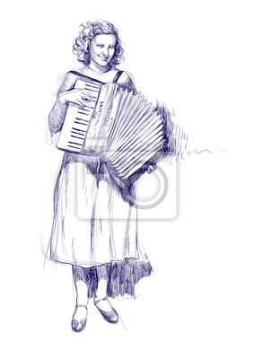 woman with an accordion - hand drawings