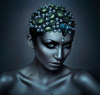 Canvas print woman with gemstone head