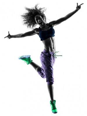 Canvas print woman zumba dancer dancing exercises silhouette