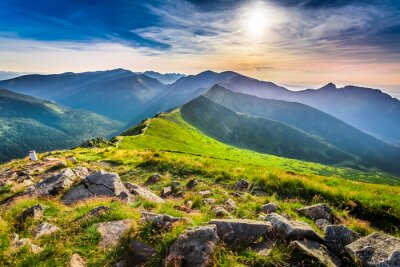 Canvas print Wonderful sunset in mountains in summer