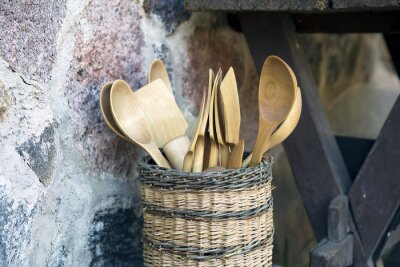 Wood Spoon and Pestle Collection on rustic background.