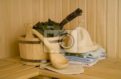 Canvas print Wooden wash-tub with scoop in steam bath-room