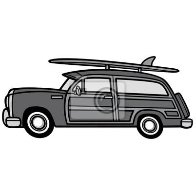 Canvas print Woodie Surf Wagon Illustration - A vector cartoon illustration of a Woodie Surf Wagon.