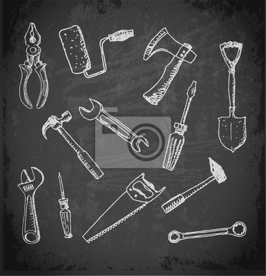 Canvas print Working tools icon set