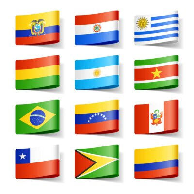 Canvas print World flags. South America.