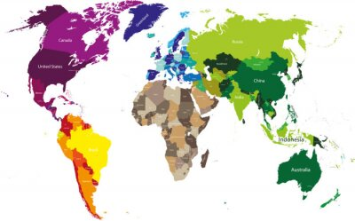 Canvas print world map colored by continents