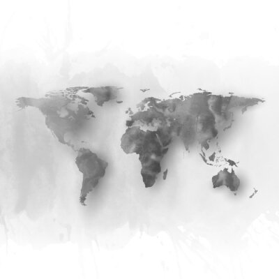 Canvas print World map element, abstract hand drawn watercolor gray