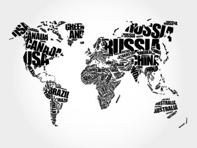 Canvas print World Map in Typography word cloud concept, names of countries