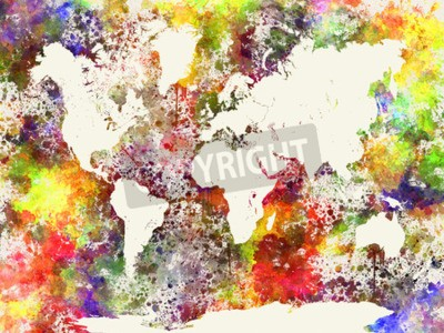 Canvas print World map in watercolor painting abstract splatters