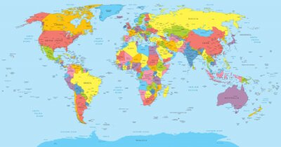 Canvas print World map with countries, country and city names
