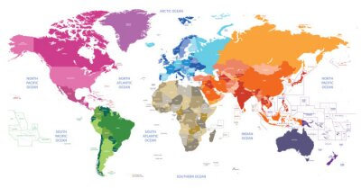 Canvas print world political map colored by continents