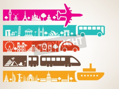Canvas print world travel by different kinds of transport, landmarks set